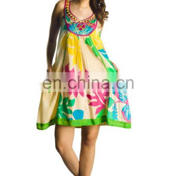 Ladies dresses wholesale Indian Supplier Cotton colorful style short tunics blouse available in France an europian