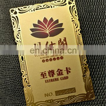 Unique design gold wedding invitation metal cards with competitive price