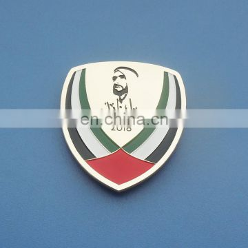 Shield Shape Gold Tone 2018 UAE Magnetic Badge & Emblems