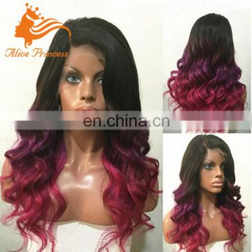Three Color Full Swiss Lace Wig Sale Virgin Ombre Pruple Body Wave Style Brazilian Hair Wigs
