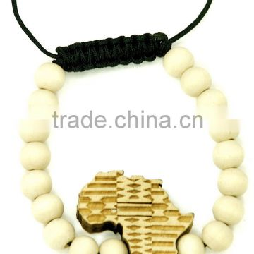 Africa map New Natural Good Wood Style Bracelet Adjustable Macrame With 10mm Beads