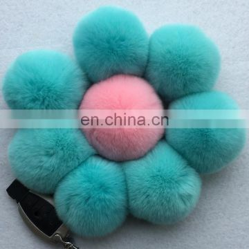Factory price rabbit fur poms rex rabbit fur accessory for fashion