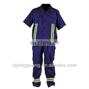 100% Cotton Twill Fabric Short Sleeves Safety Work Coverall With Reflective Tape