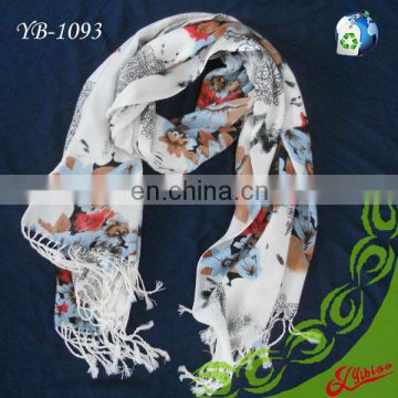 New Floral Printing Long Fashion Acrylic Scarf with Frings For Winter