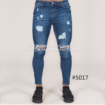 streetwear fancy stretch skinny grinding washed distressed men's jeans pants Guangzhou jeans markets ripped jeans men