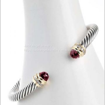 Fashion DY Inspired 5mm Cable  Garnet 925 Sterling Silver Ice Cuff  Bracelet