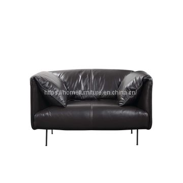 Slim Arms Cozy Design Contemporary Leather Sofa with Metal Legs
