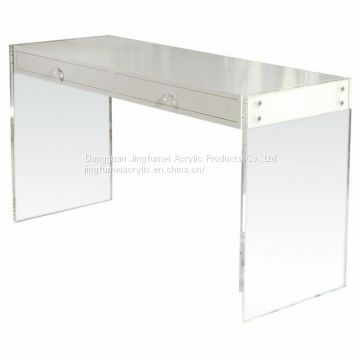 Reading Table With White Drawers Lucite