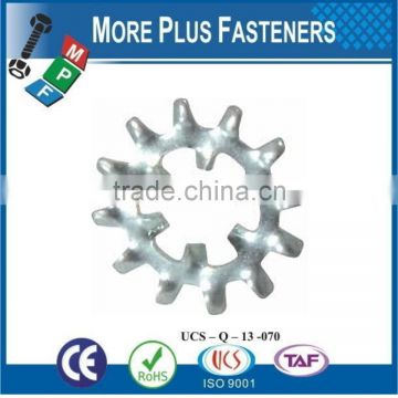 Made in Taiwan External and Internal Tooth Lock Washer Stainless Steel or Carbon Steel Bright Zinc Plated