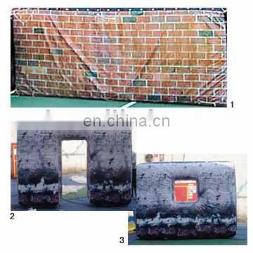 Outdoor sport game inflatable paintball bunkers inflatbable wall with door