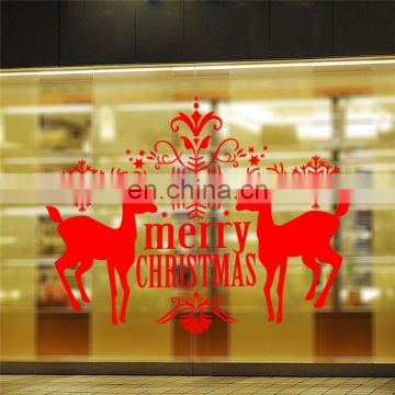 Christmas Decoration Supply Merry Christmas Deer Pattern Wall Stickers for Children