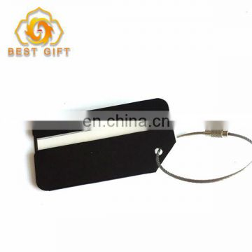 Custom Black Aluminum Luggage Tag With Wire Ring