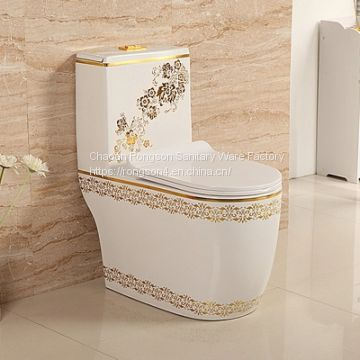 European bathroom ceramic siphonic fancy design green color one piece toilet wc with draw by hand design from chaozhou