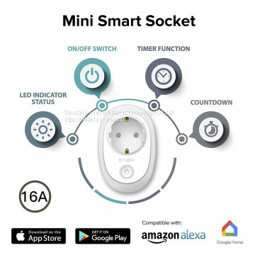 Oukitel P2 EU rectangle Wifi smart socket plug 16A works with alexa google assistant app control
