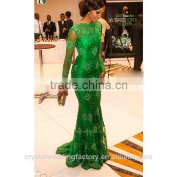 Alibaba Elegant Applique Lace Green Pageant Evening Dresses New Style Long Sleeves Satin Court Train Mermaid Zipper Gowns LE01