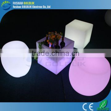 User friendly design illuminated led cube stool GKC-040RT