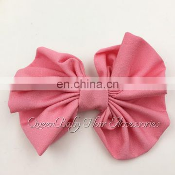 "4"" Chiffon Bo Accessories Solid Bow Without Hair Clips Flat Back"