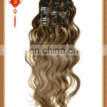 2015 hot sale factory cheap price high quality clip in body wave hair extensions