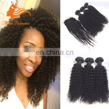 Top Peruvian Kinky Curly Hair With Closure 4 Bundles Virgin Human Curly Hair Weft With Front Closure Natural Black Shedding Free