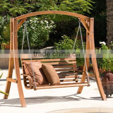 Assembling Double Seat Patio Outdoor Wooden Swing Door Teak Wood