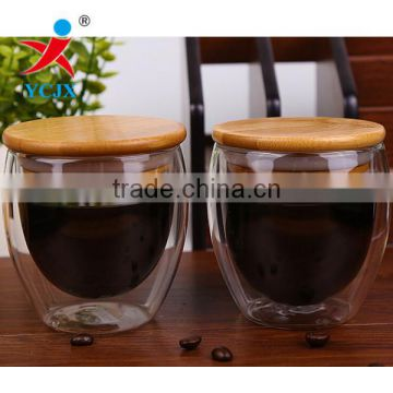Clear Double Layer Glass Coffee Cups with Bamoo Lids