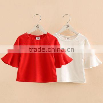 709ffe56053b Wholesale girls plain red white flying sleeve t shirt baby girl tops ...