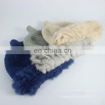 Solid color lady fashion crochet hat with rabbit fur knitted winter hats
