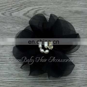 4inch Unfinished Lace Chiffon Flower Bridal Accessory Pearl Flower Without Hair Clip DIY Craftwork