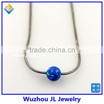 Lovely Synthetic Dark Blue Opal Bead Pendant with 925 Sterling Silver Box Chain Necklace