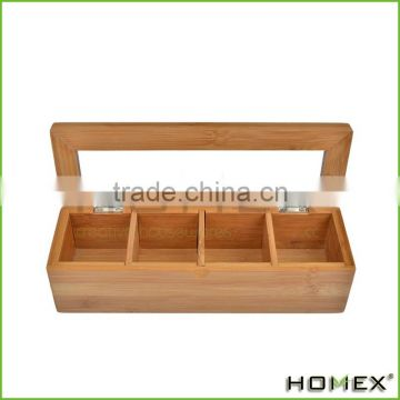 High Quality Factory Price 4 Slot Bamboo Wood Tea Storage Box/Homex_Factory