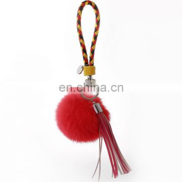 custom logo leather pu tassel pom pom keychain