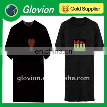 Best selling christmas gifts electronic music t-shirt star el flashing T-shirt