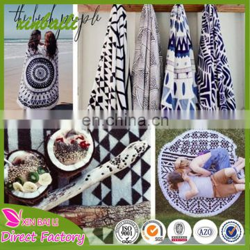 China factory custom Round microfiber printed beach towel with tassels good quality