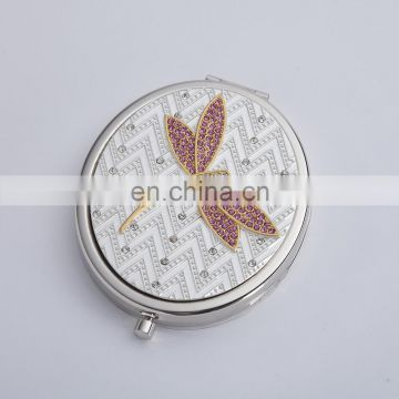 decorative ornate silver fashion round shaped metal shaving framed make up mirror with crystal