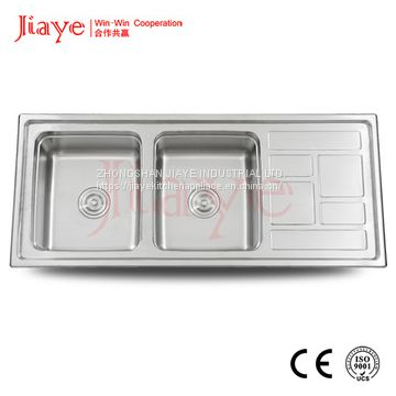 JY-11650F 2018 normal kitchen sink, double bowl drain board sinks for home appliances