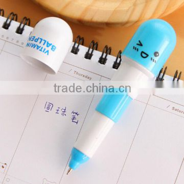 Pill design ballpoint pen/short ballpoint pen/retractable ballpoint pen
