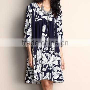 New Fashion Women Dresses With Navy Floral Tie-Front Tunic Dress Women Casual Dress Women Clothing GD90426-17