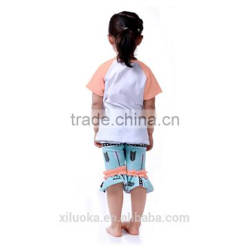 Girl boutique clothing shirt with short pants baby clothing sets girl clothe                                                                         Quality Choice