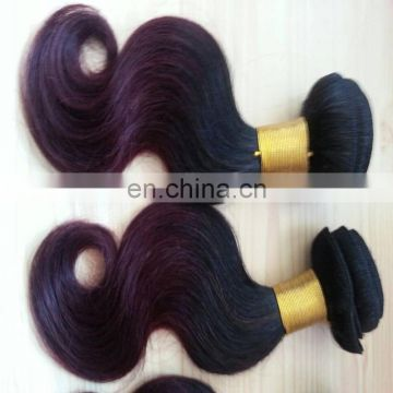 Wholesale ombre color human hair extensions two tone color 1B/purple remy brazilian body wave hair weaving