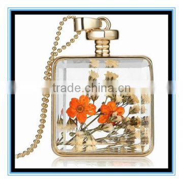 XP-PN-1474 Latest factory design crystal square glass perfume necklace photo frame locket pendant necklace