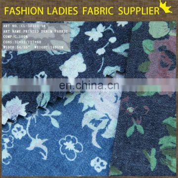 top sale zhejiang faric 100%cotton denim fabric, print denim fabric discharge print