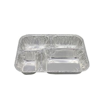 disposable 4 compartment aluminum foil meal tray with lid