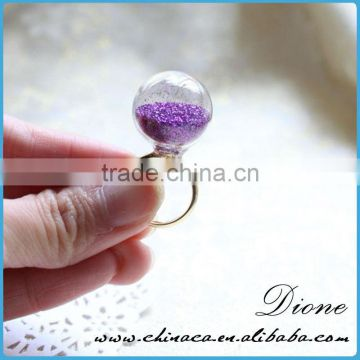 Wholesale clear snow globe glass ring , bottle glass ring