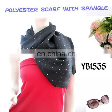 2016 new high quality 100 % polyester check PD turkish chiffon scarf with spangle hot sale in the middle East Muslim Hijab
