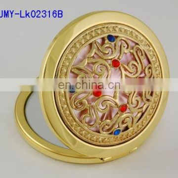 flower decoration gold metal pocket mirror