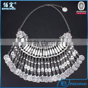 Vintage Sliver Plated Coin Tassel Bohemia Turkish Women Necklace Jewelry