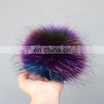 Large hand made raccoon fur ball bobble for shoes/garment/car keychains