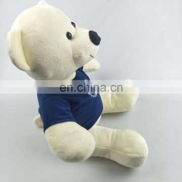 High quality 30cm beige teddy bear super soft velboa with a blue t-shirt