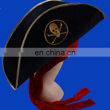 Hot selling Halloween Caribbean Pirate Hat, Pirate Captains Hat, Black Captains Hat