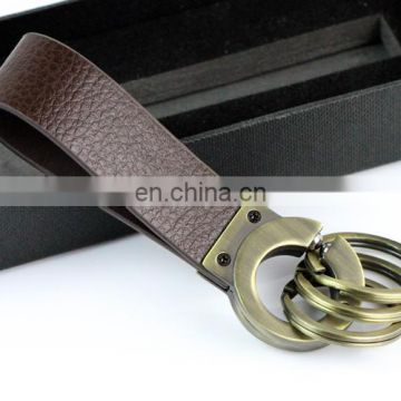 2016 Wholesale high end soft leather keychain with box for promotion and gift